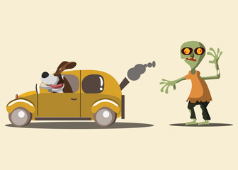 zombie and funny dog vector illustration