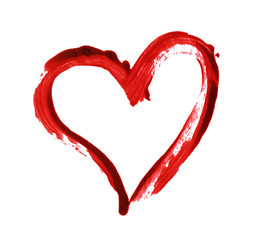 Closup of red heart painted with a brush