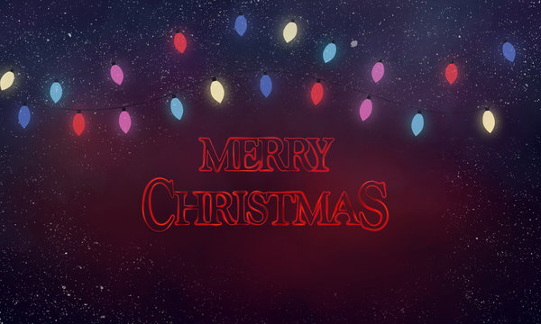 Spooky stranger things  Christmas card 80s scary style with Christmas lights and red text Merry Christmas  and snow in background