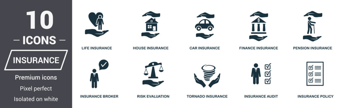 Insurance icons set. Premium quality symbol collection. Insurance icon set simple elements. Ready to use in web design, apps, software, print.