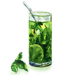 Mojito cocktail with lime and green mint in glass or iced tea isolated, hand drawn watercolor illustration on white