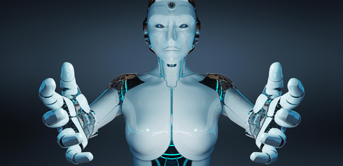 White woman cyborg opening her two hands 3D rendering