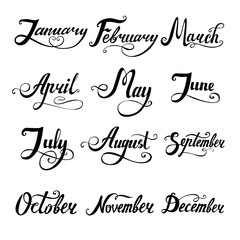 12 months lettering vector set for calender