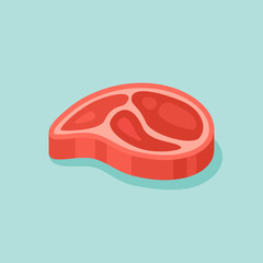 Raw meat steak isolated on teal background. Flat style icon. Vector illustration.