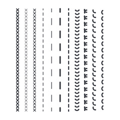 Detail stitched vector patterns. Sewing seams pattern.