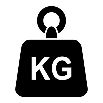 Simple black weight kg kilogram vector icon isolated on white background
