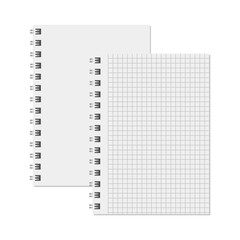 Blank realistic notebook. Diary notepad, paper page and notebook
