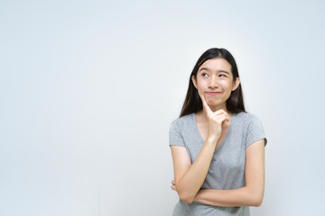 Attractive asian woman thinking isolated, Beautiful Asian Young Girl