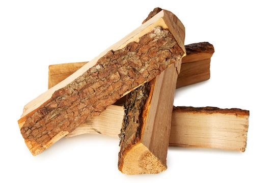 Split logs of wood for fuel on white