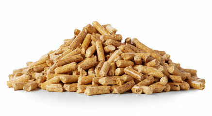 Close up on a pile of compressed wood pellets