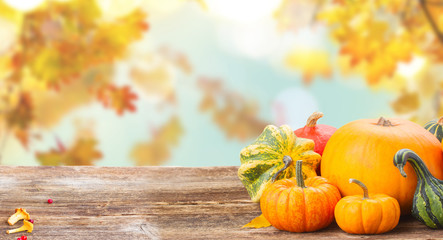pile of orange raw pumpkins with fall leaves on wooden table over fall background