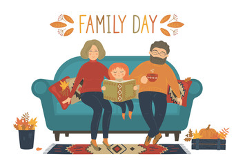Family Day. Happy family sit on sofa on white background. Original vector illustration.