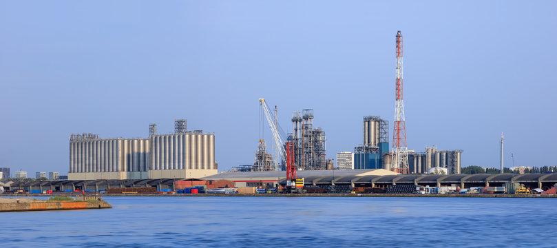 Panorama of an industrial area at Port of Antwerp, Belgium.