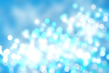 Abstract cloudy blue sky with colorful shining blur bokeh lights background. Beautiful texture.