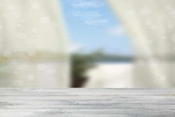 Empty rustic wooden table over abstract natural bright bokeh background. Template for your product display montage. Space.