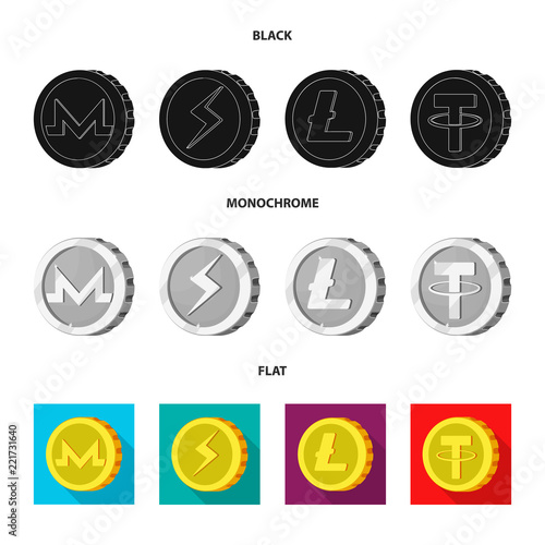 Isolated Object Of Cryptocurrency And Coin Symbol Set Of