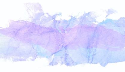 blue watercolor stain, drawn by brush on paper
