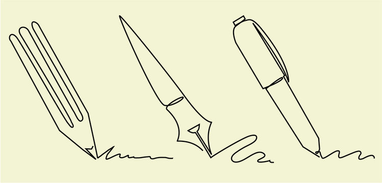 Set of writing accessories one line drawing