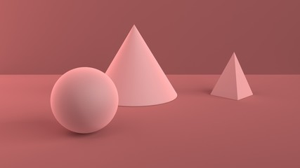 Abstract scene of geometric shapes. Ball, cone and pyramid powder pink. Soft ambient light in 3D scene with red-brown background. 3d rendering.