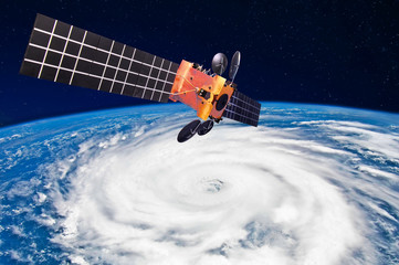 Hurricane, typhoon over planet Earth - satellite above the Earth makes measurements of the weather parameters.. Elements of this image furnished by NASA.