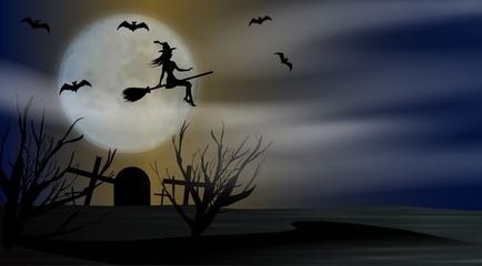 Halloween background night with flying young witch to background full moon above the cemetery. Vector illustration.