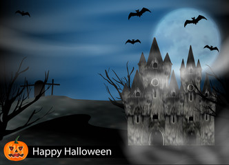 Halloween background with castle, bats to background full moon and pumpkin. Vector illustration.