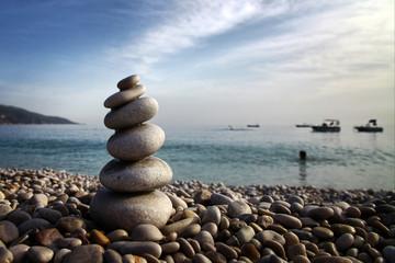 Sea pebbles tower closeup