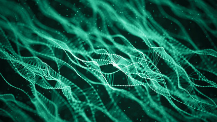 Molecular background with DNA. Network concept with connecting dots and lines. Abstract particles. Big data visualization. Sound wave. 3d rendering. Wall mural