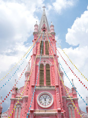 Pink Catholic Church in Saigon, Vietnam ホーチミンのピンクの教会