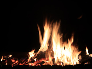 high temperature of open fire and flames when burning