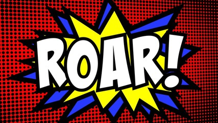 A comic strip cartoon with the word Roar. Green and halftone background, star shape effect.