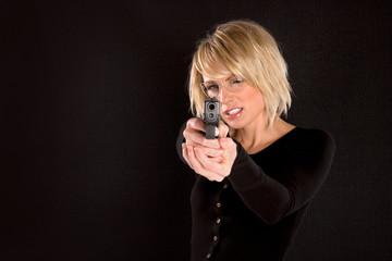 Blonde Woman Pointing Gun