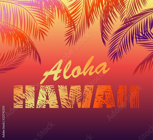 Tropical Neon Background With Aloha Hawaii Lettering And Palm Leaves Silhouettes For T Shirt Night