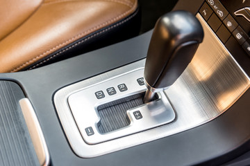 Automatic transmission gear, car interior close up