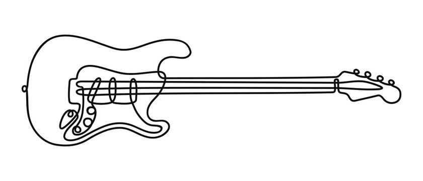One line drawing of a musical stringed electric guitar instrument isolated on white background.