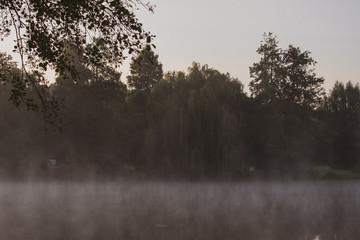 Unheimlicher See mit Nebelschwaden. Standort: Deutschland, Nordrhein-Westfalen, Pröbstingsee