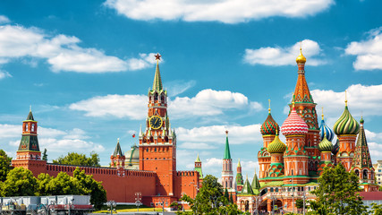 Fototapete - Moscow Kremlin and St Basil's Cathedral, Russia