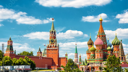 Fototapete Moscow Kremlin and St Basil's Cathedral, Russia