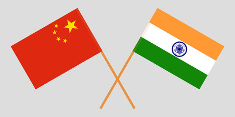 China and India. Chinese and Indian flags. Official colors. Correct proportion. Vector