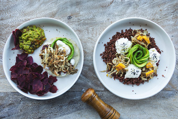 Different delicious vegetarian dishes on the table