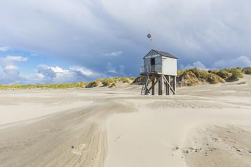 Refuge for stranded castaways on the beach of Terschelling, Netherlands, in Dutch called 'drenkelingenhuisje'.