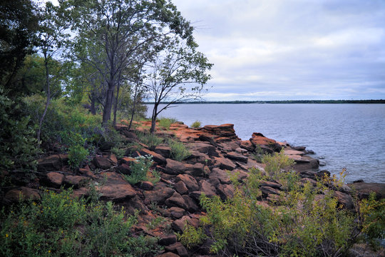 Outcrop of the Woodbine Group geologic formation on Lake Lewisville Texas