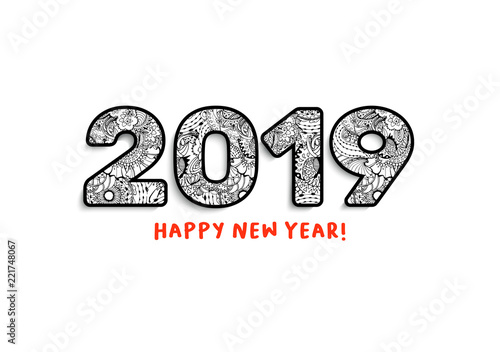 2019 lettering happy new year greeting calendar front cover horizontal slogan with chinese