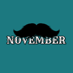 Moustaches November Blog Post Template for Bloggers and Social Media. Black Mustache Silhouette. Hand Drawn Retro Lettering with Word November. Cinco de Mayo, Mustache Carnival Design.