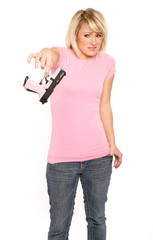 Blonde Woman Affraid of Handgun