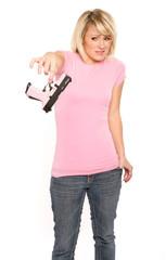 Blonde Woman Affraid of Handgun
