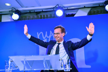 The Moderaterna party leader Ulf Kristersson speaks at the election party at the Scandic Continental hotel in central Stockholm