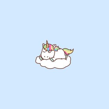 Cute unicorn sleeping on a cloud, vector illustration