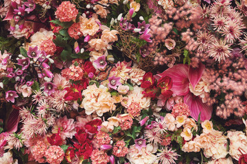 Background  with a lot of different beautiful flowers
