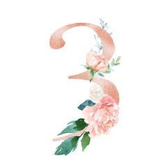 Peach Cream Blush Floral Number - digit 3 with flowers bouquet composition. Unique collection for wedding invites decoration & other concept ideas.